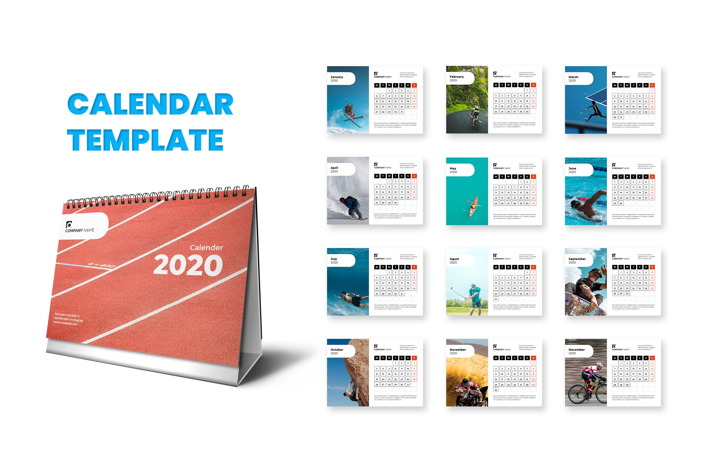 Calender - Natural Sports Template