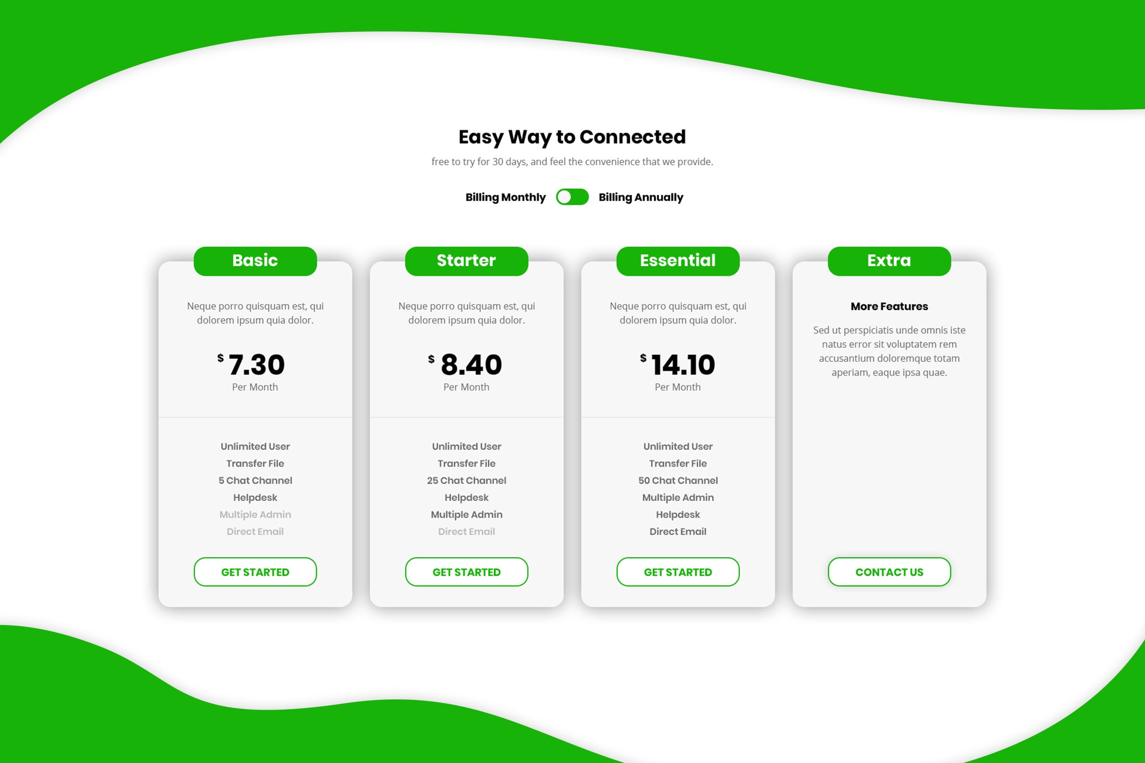 Pricing Table - Extra Connected