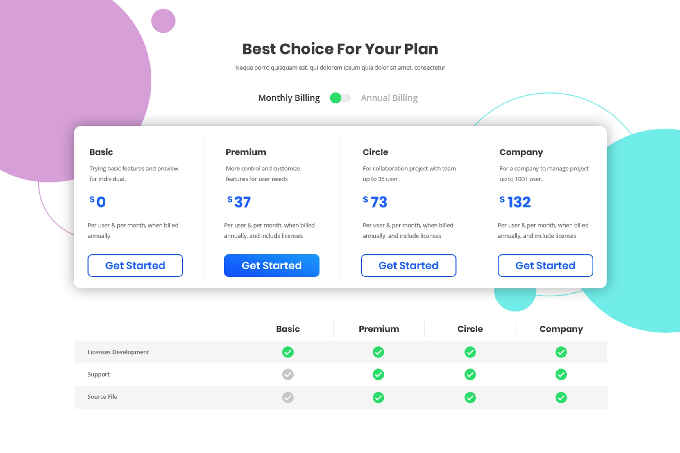 Pricing Table - Best Choose for Company