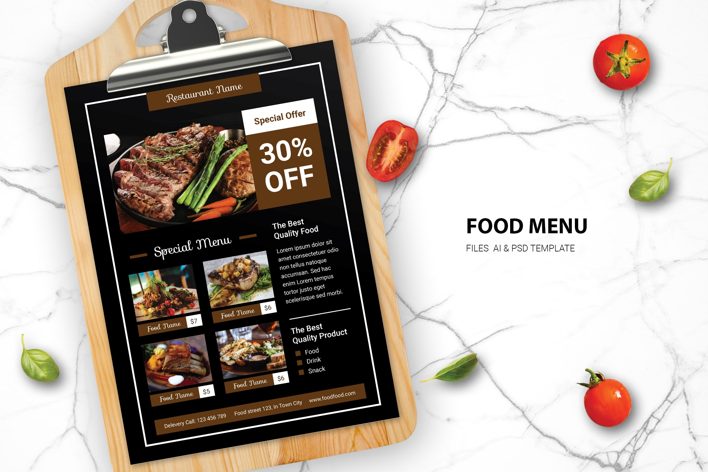 Food Menu - Steak Restaurant
