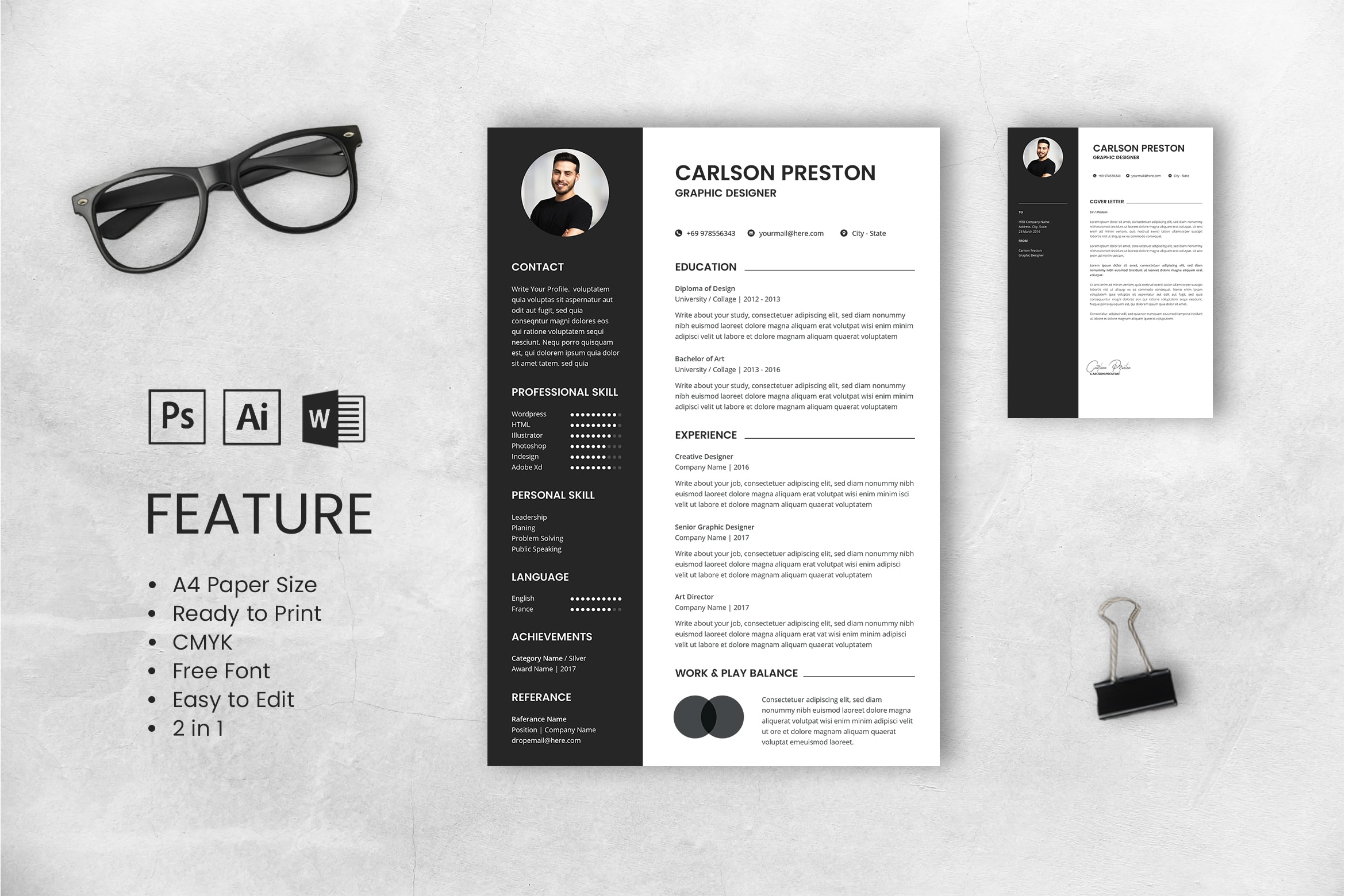 CV Resume – Graphic Designer Profile 10