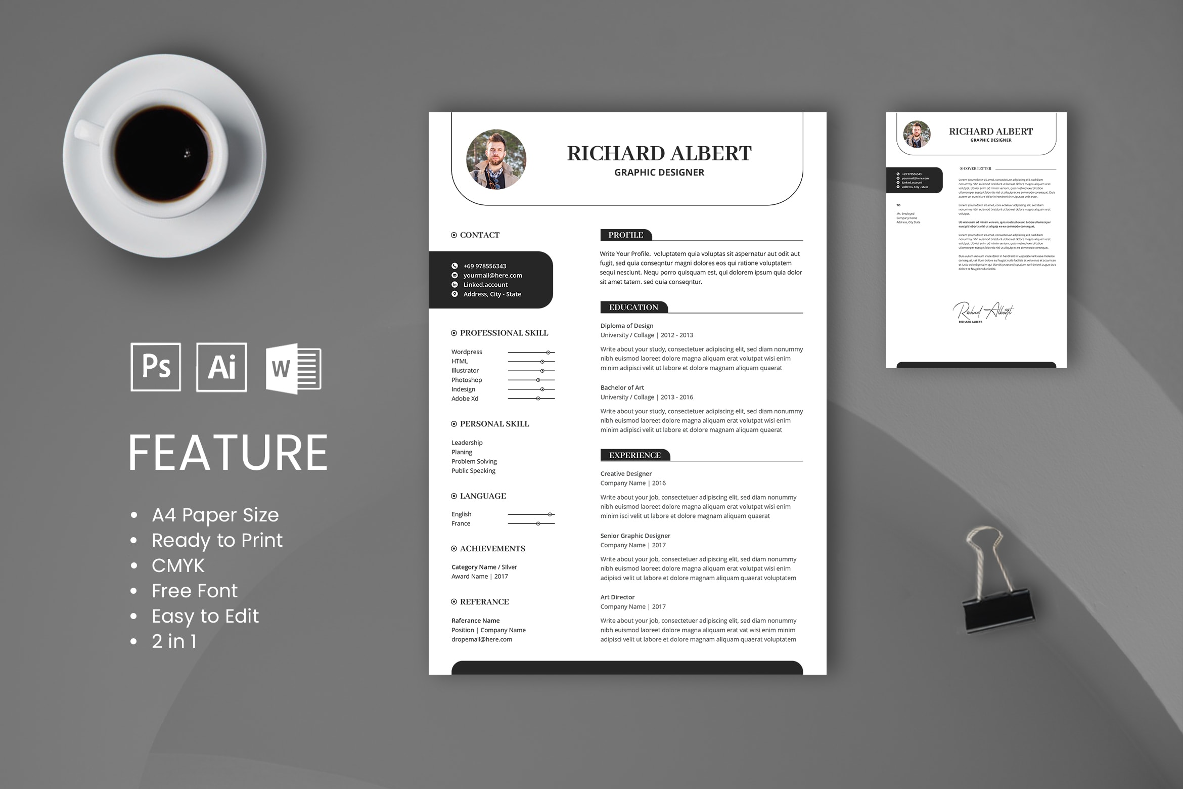 CV Resume – Graphic Designer Profile 8