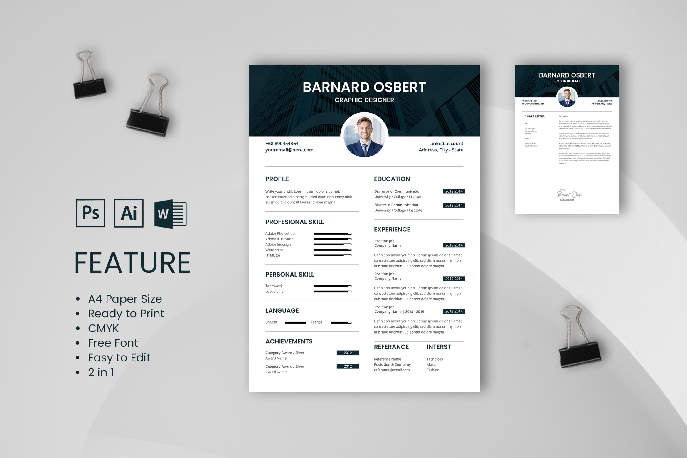 CV Resume – Graphic Designer Profile 7