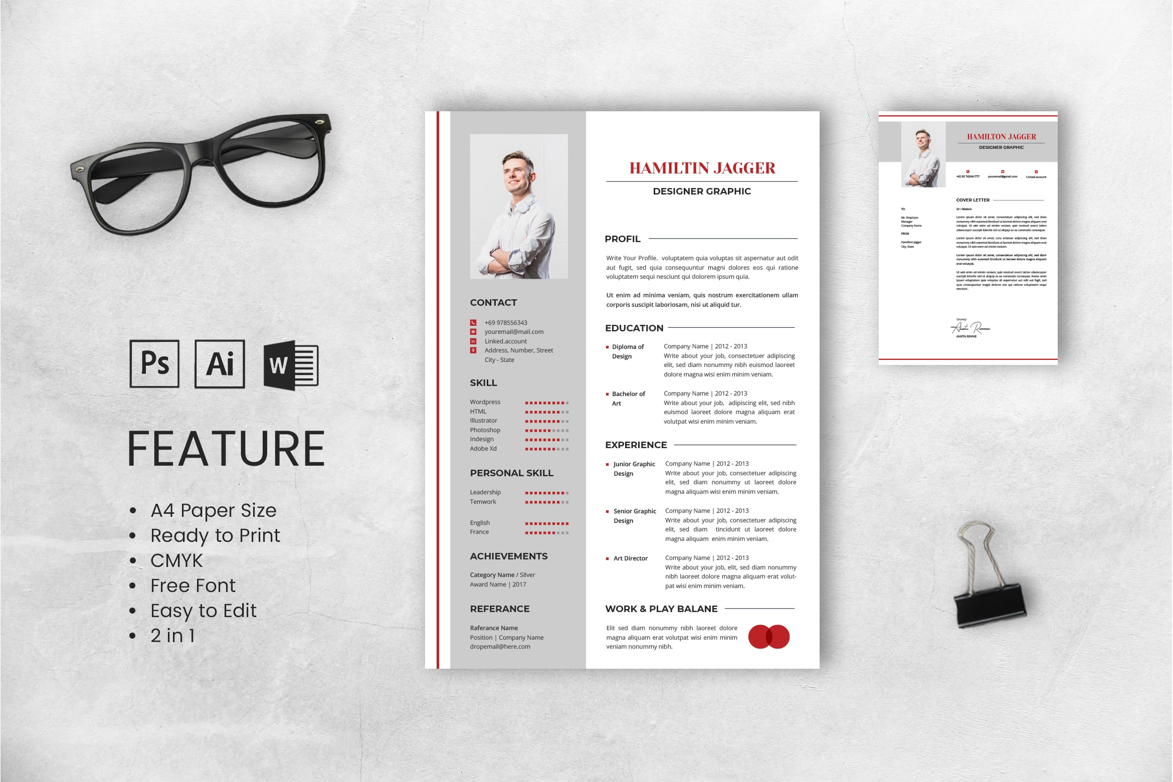 CV Resume – Graphic Designer Profile 6