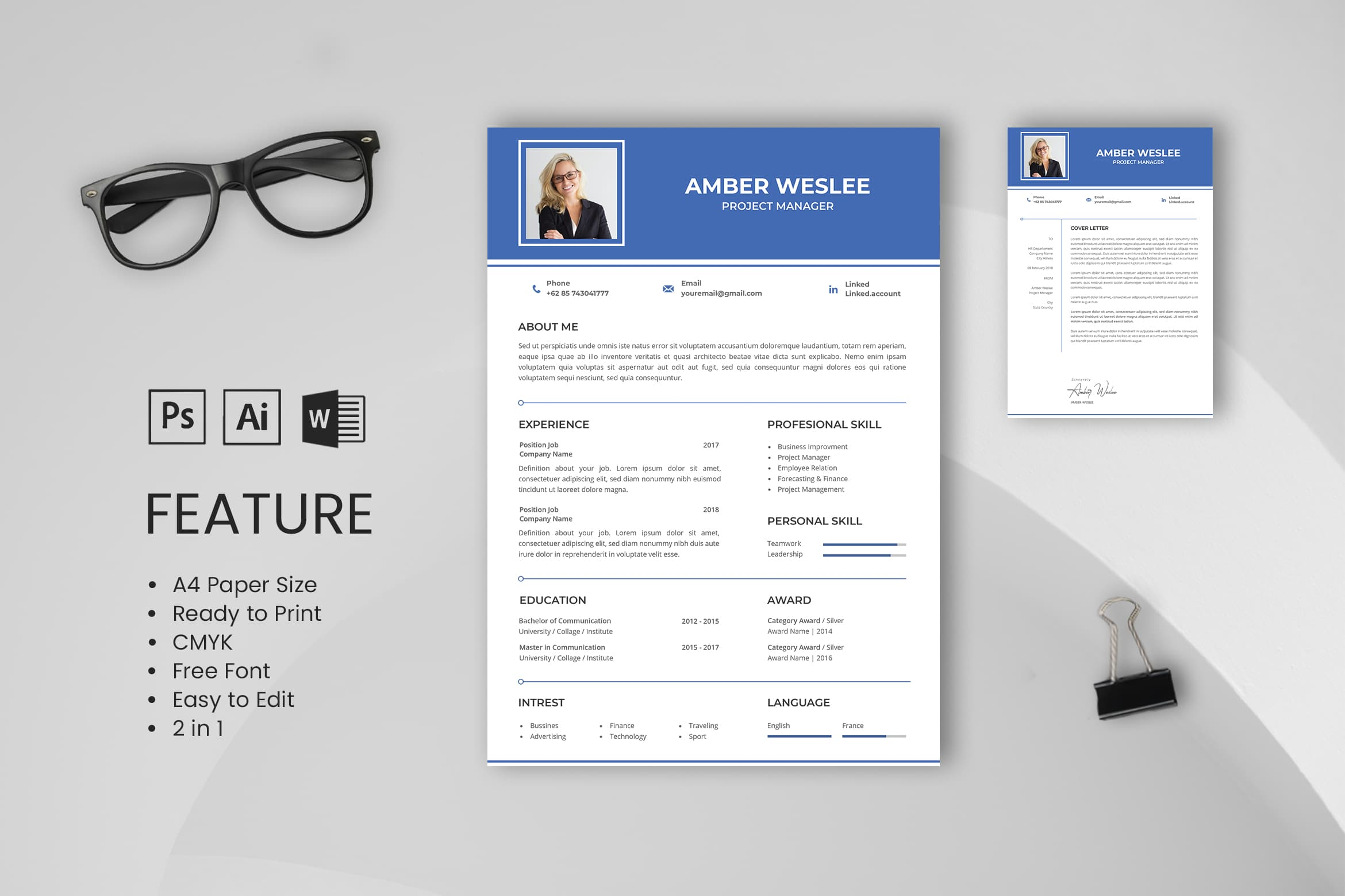 CV Resume - Project Manager Profile