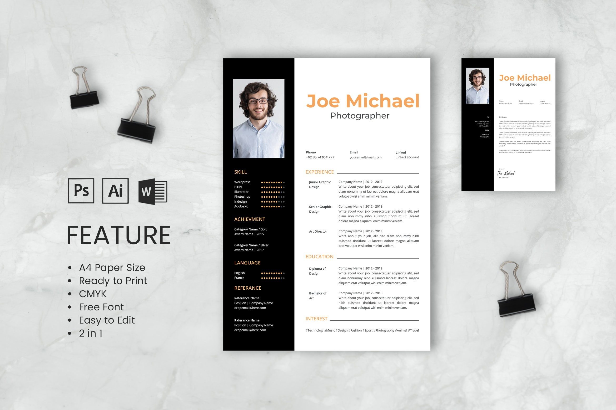 CV Resume – Photographer Profile 6