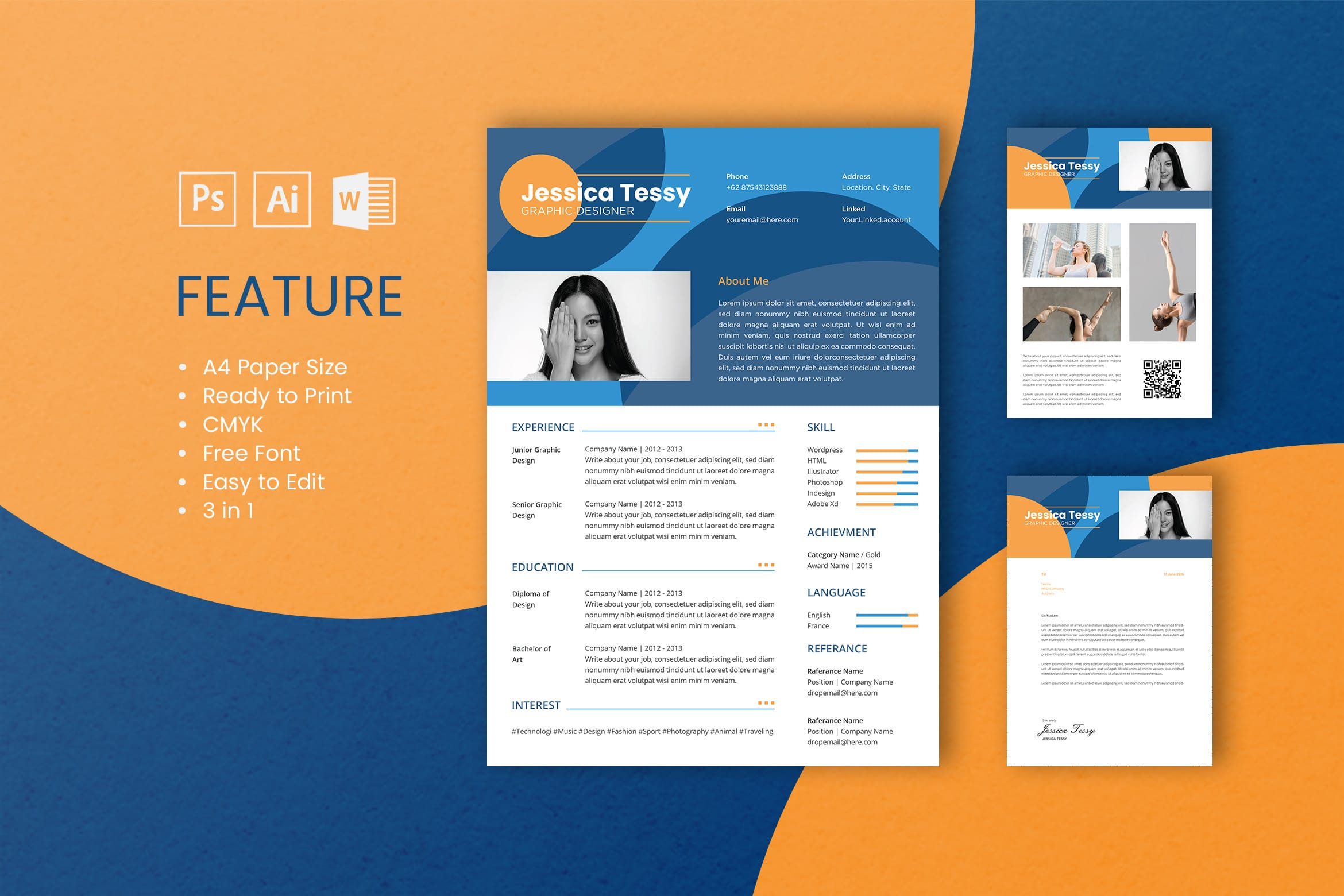 CV Resume - Graphic Designer Profile 2