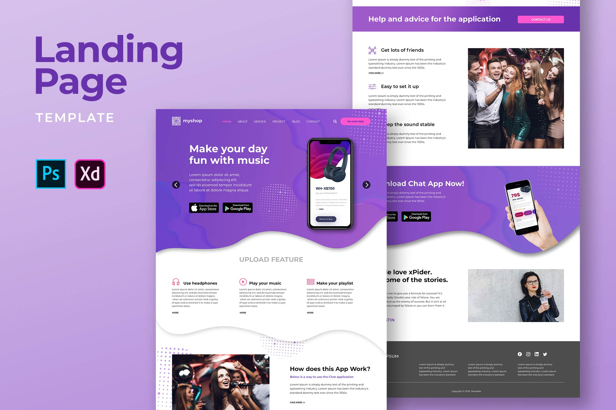 Landing Pages - Music Player Apps