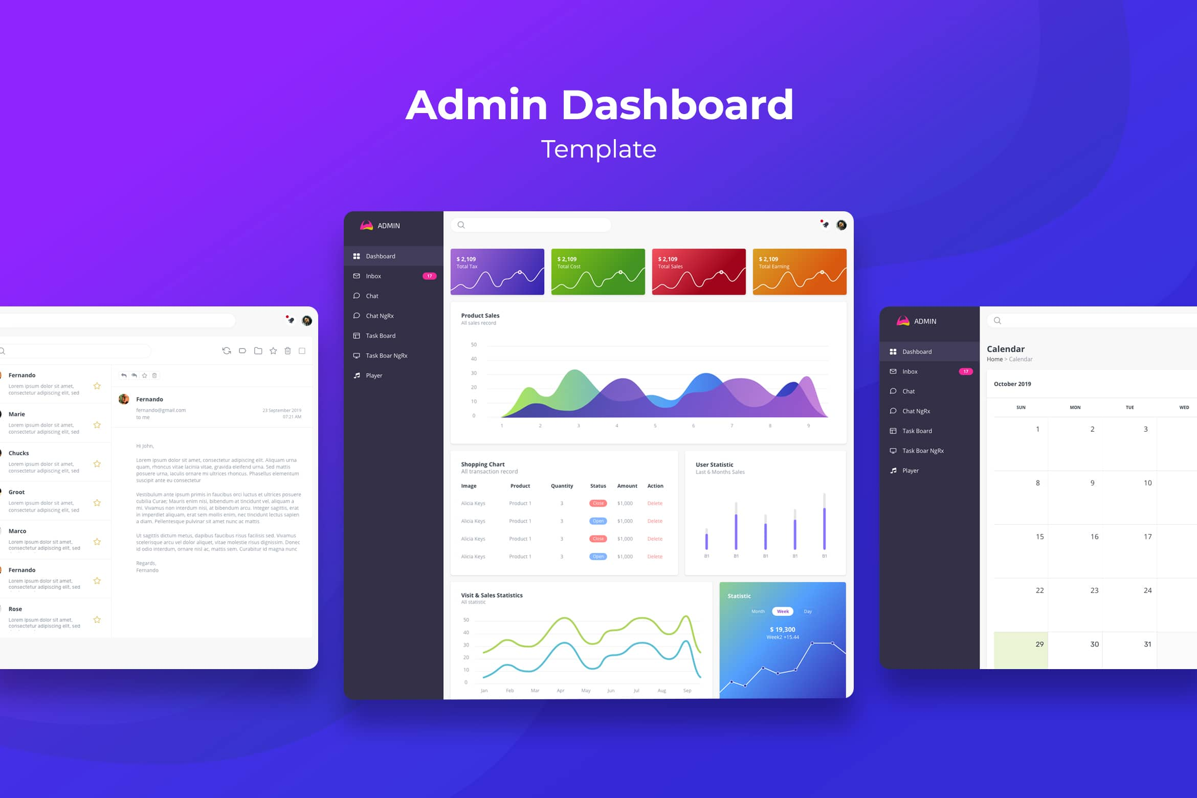 Admin Dashboard - Online Shop Graph