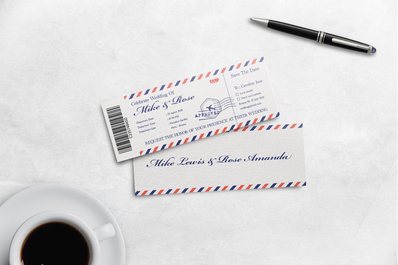 Boarding Pass Wedding Invitation - White Classic Theme