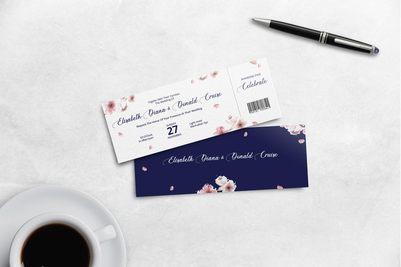 Boarding Pass Wedding Invitation - Navy Blue Theme 1