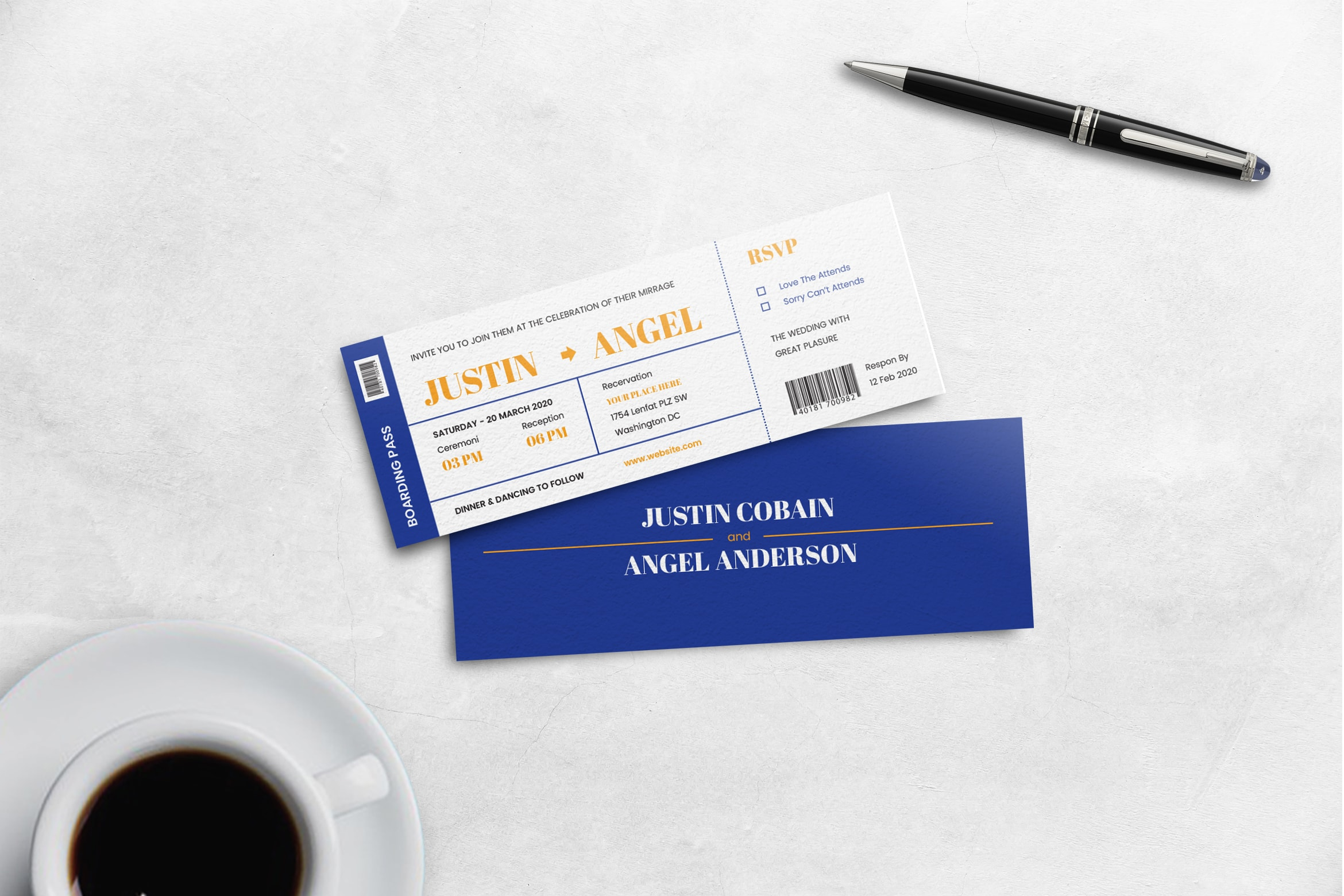 Boarding Pass Wedding Invitation - Blue Theme
