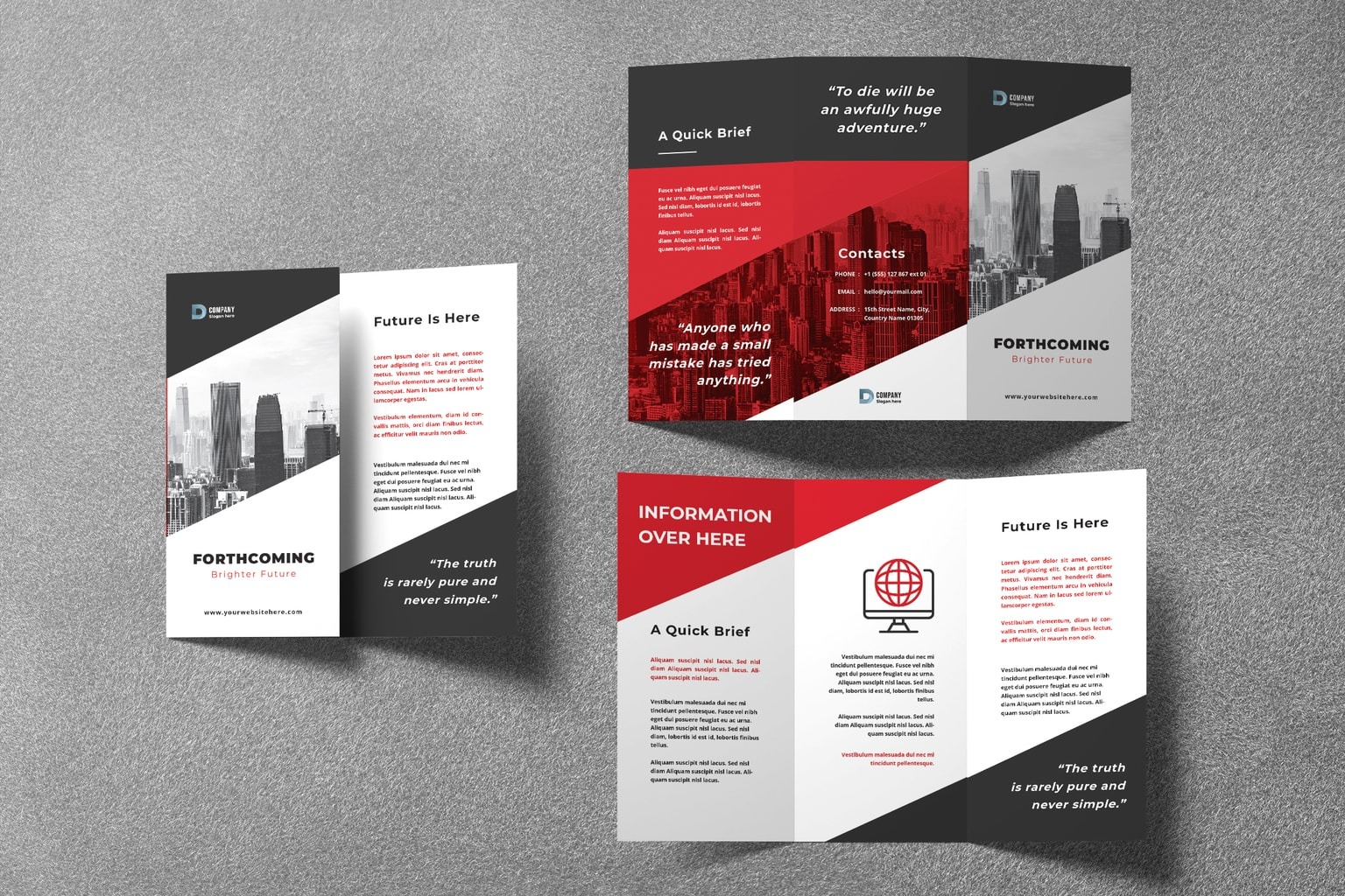 trifold brochure town construction