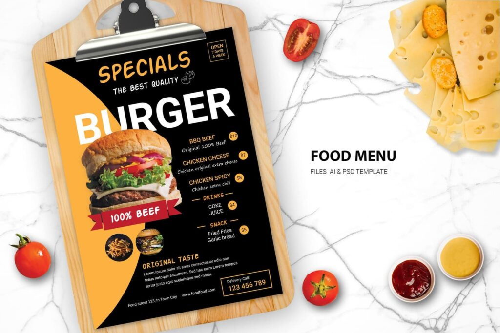 Food Menu – Special Burger