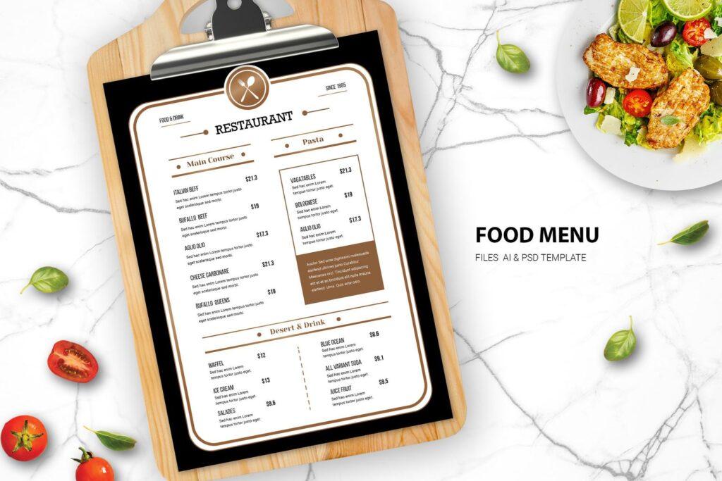 Food Menu – Western Cookery