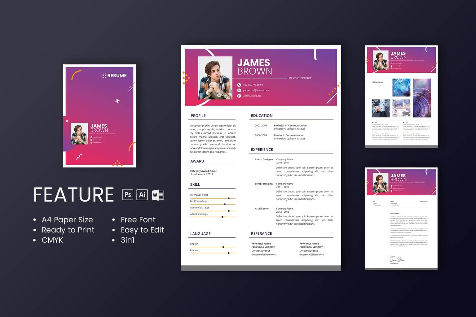 get the professional design for your cv resume template with uicreative 6