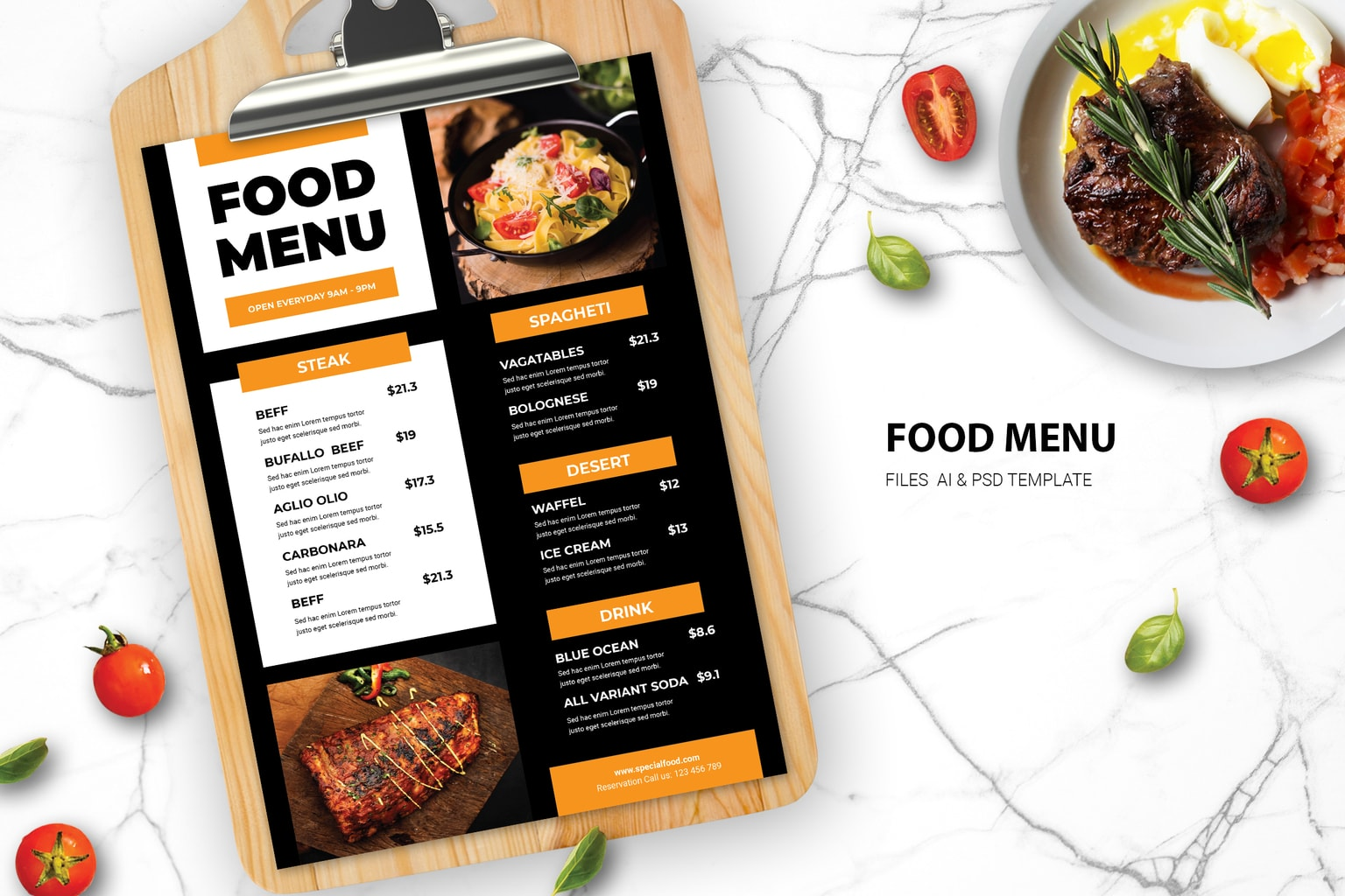 food menu western meat dishes