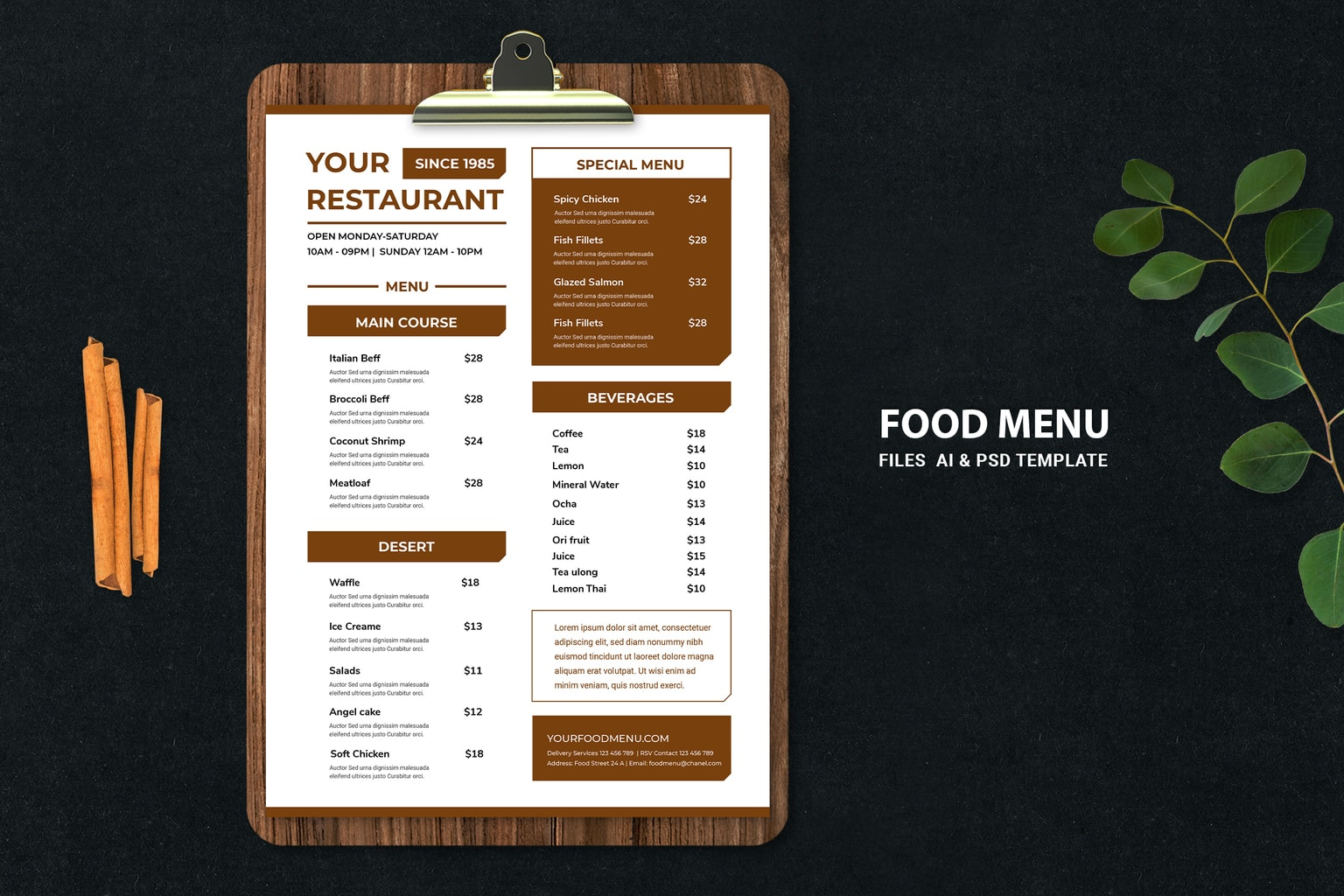 food menu simple restaurant