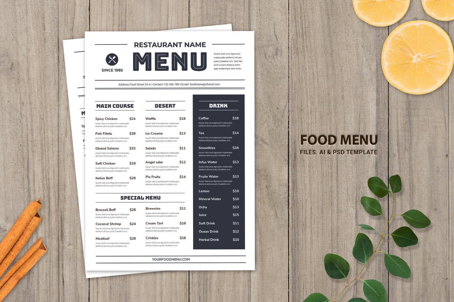 food menu oldest resto