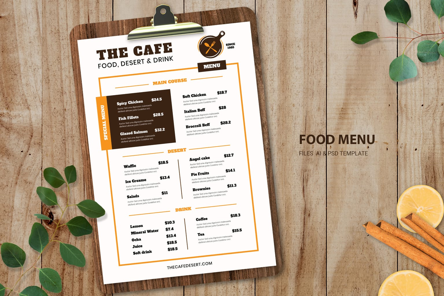 food menu complete cafe dishes