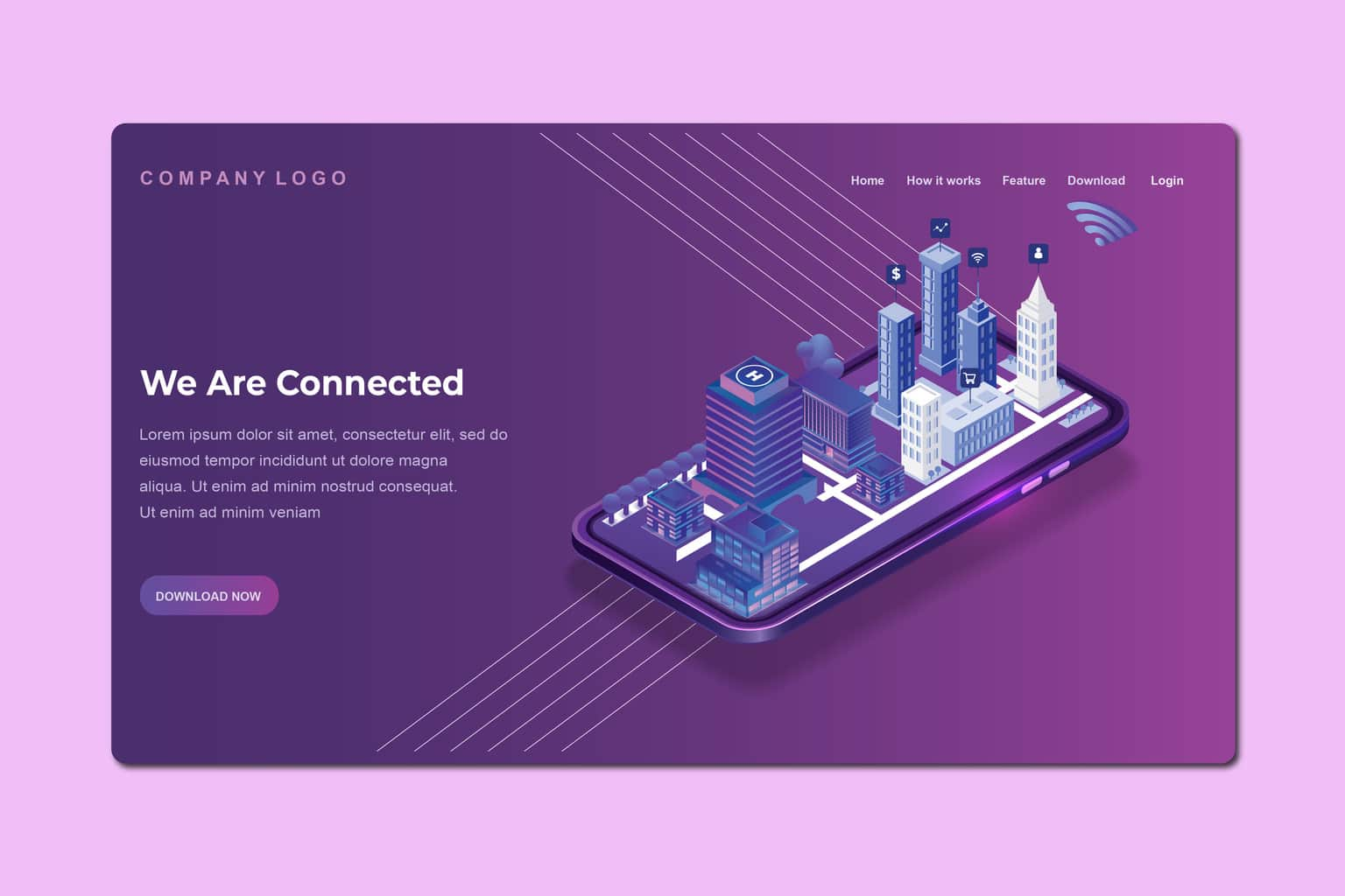 isometric landing pages business city connections