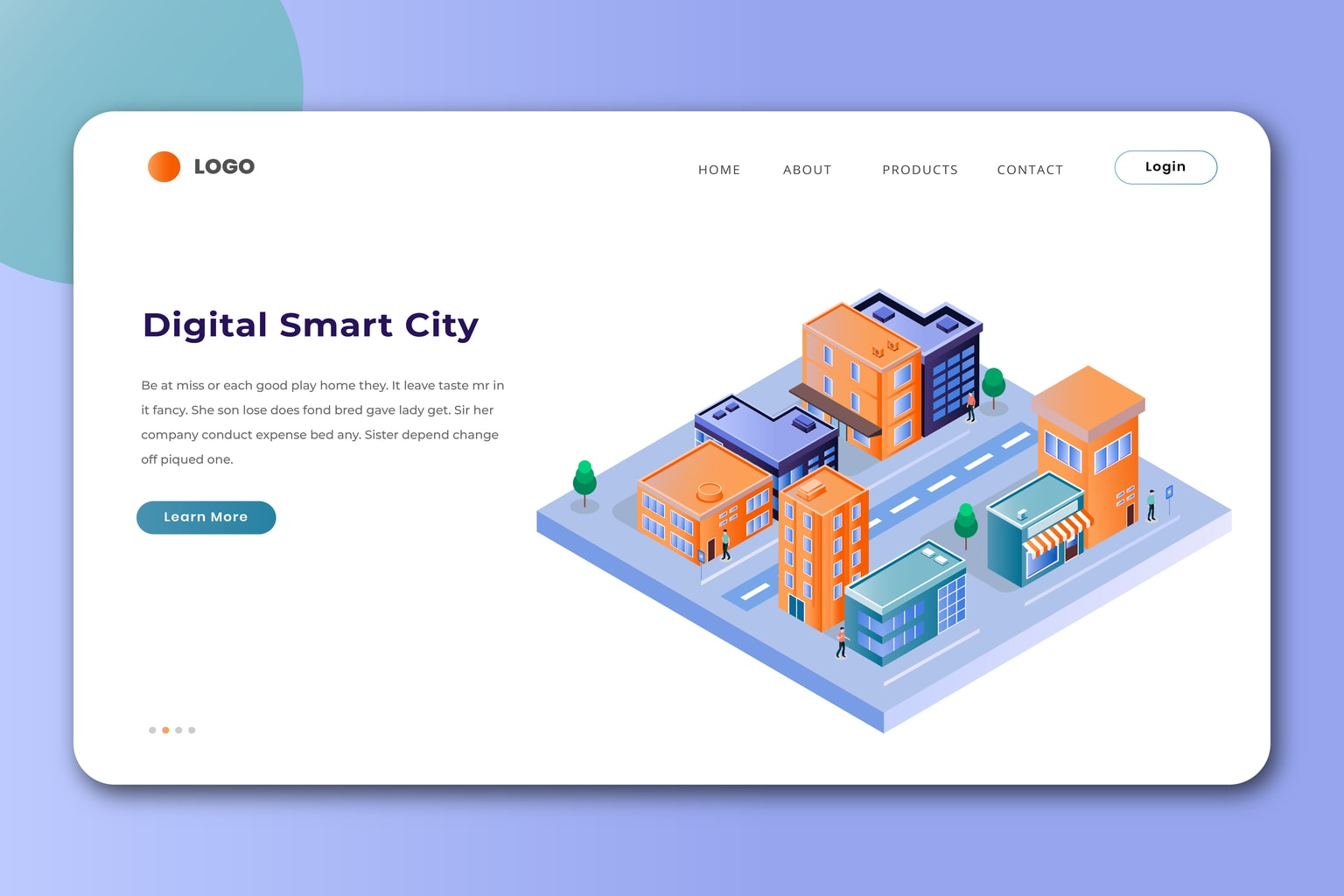 isometric landing pages digital smart city