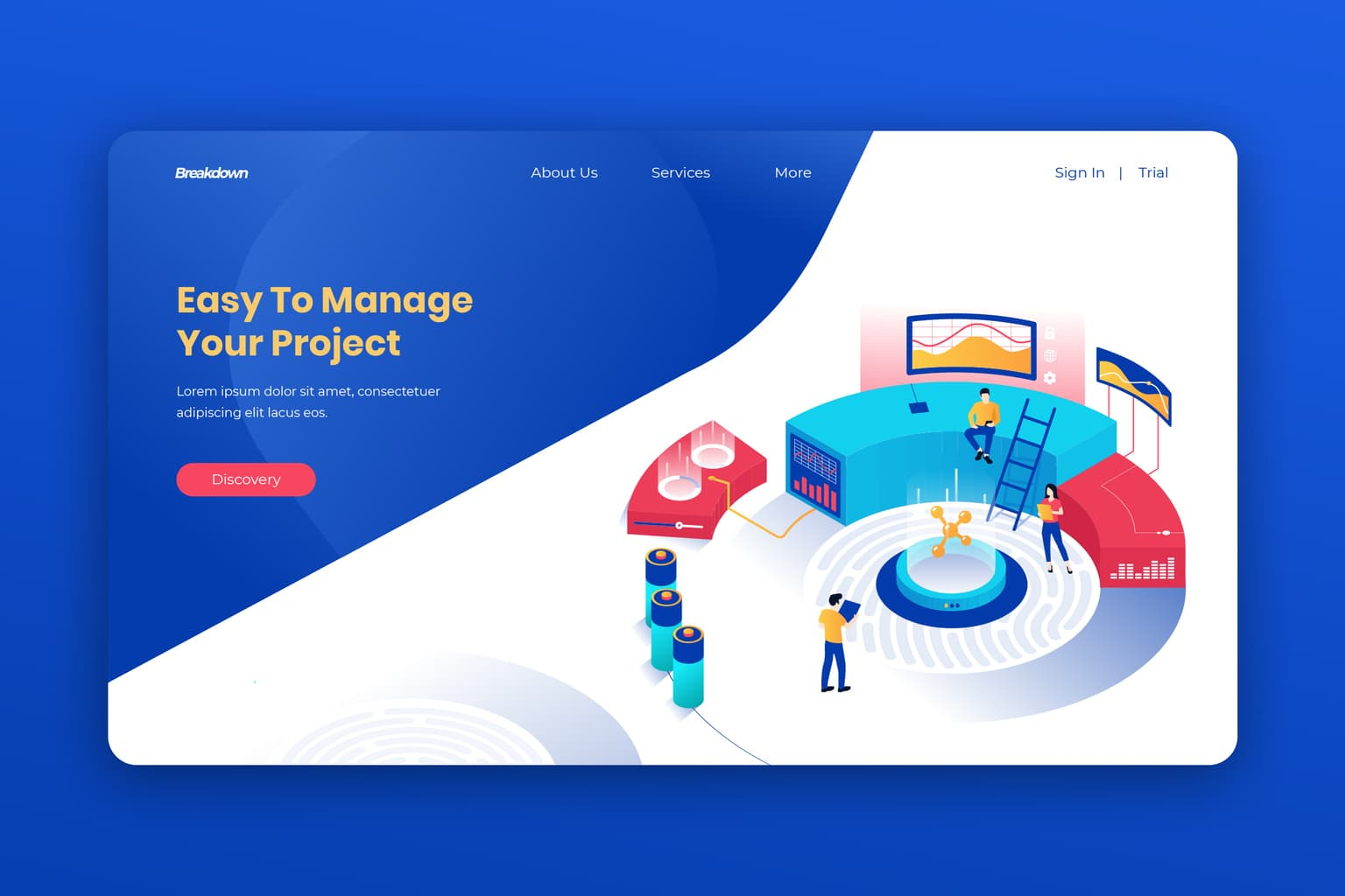isometric landing pages project management