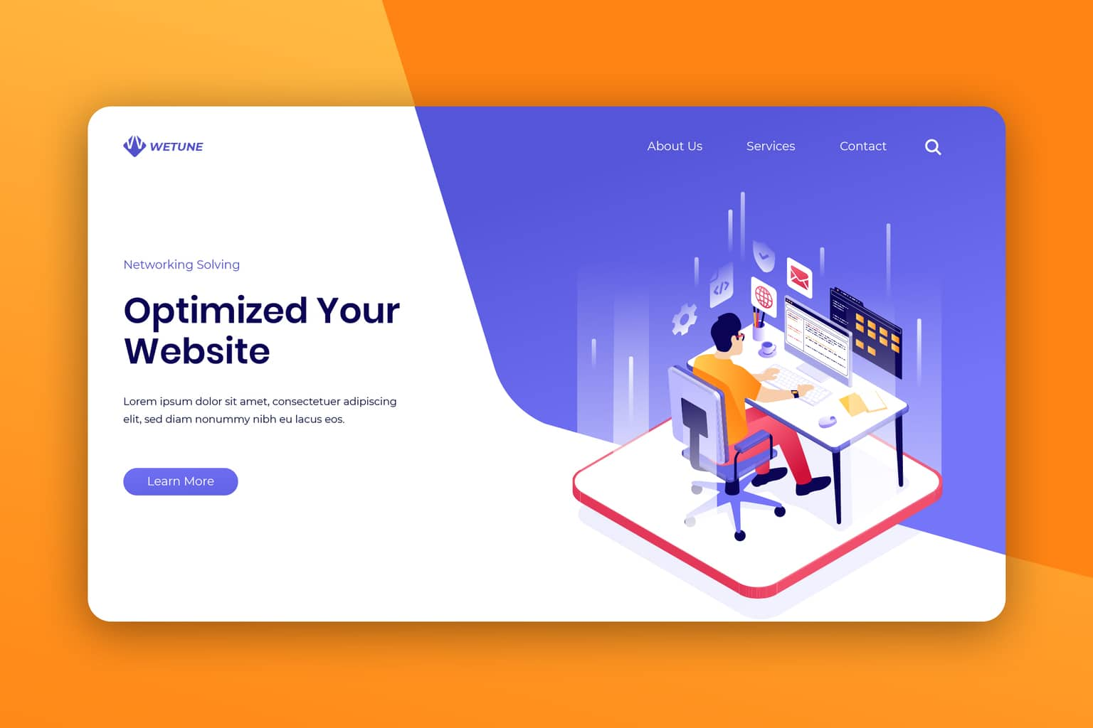 isometric landing pages website company optimized