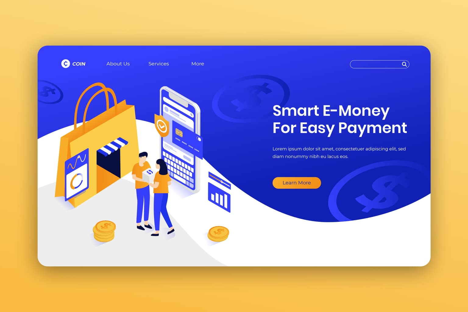 isometric landing pages smart payment