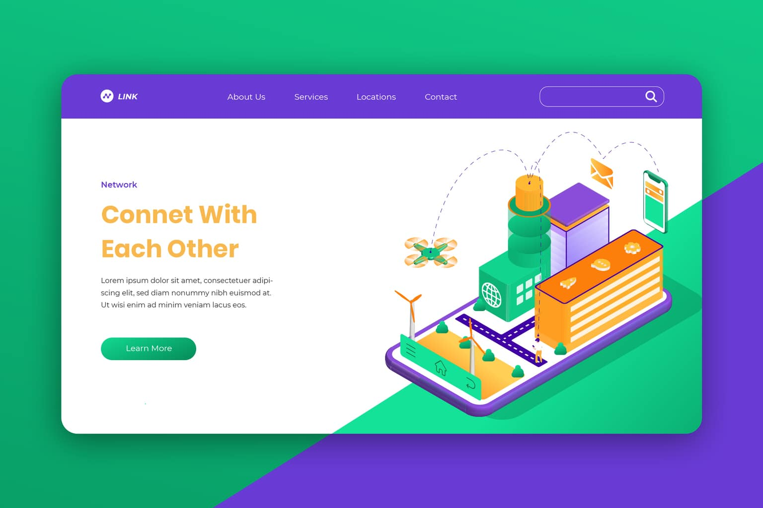 isometric landing pages social connection
