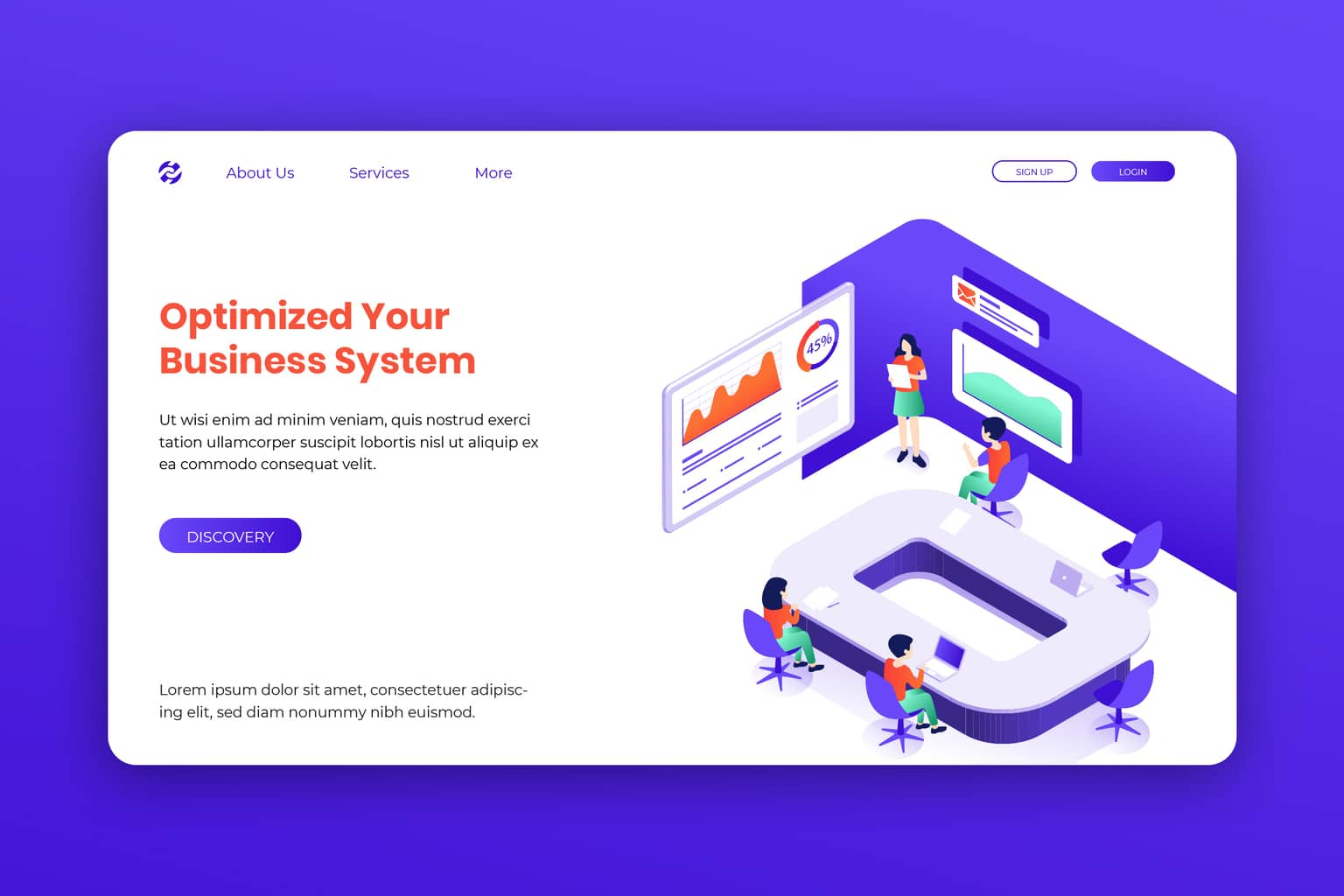 isometric landing pages optimized business system