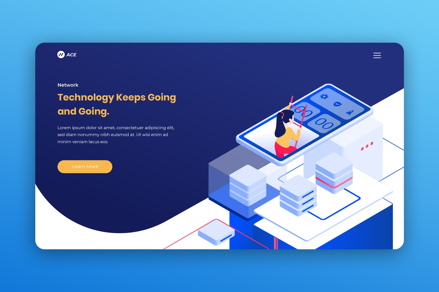 isometric landing pages digital network service