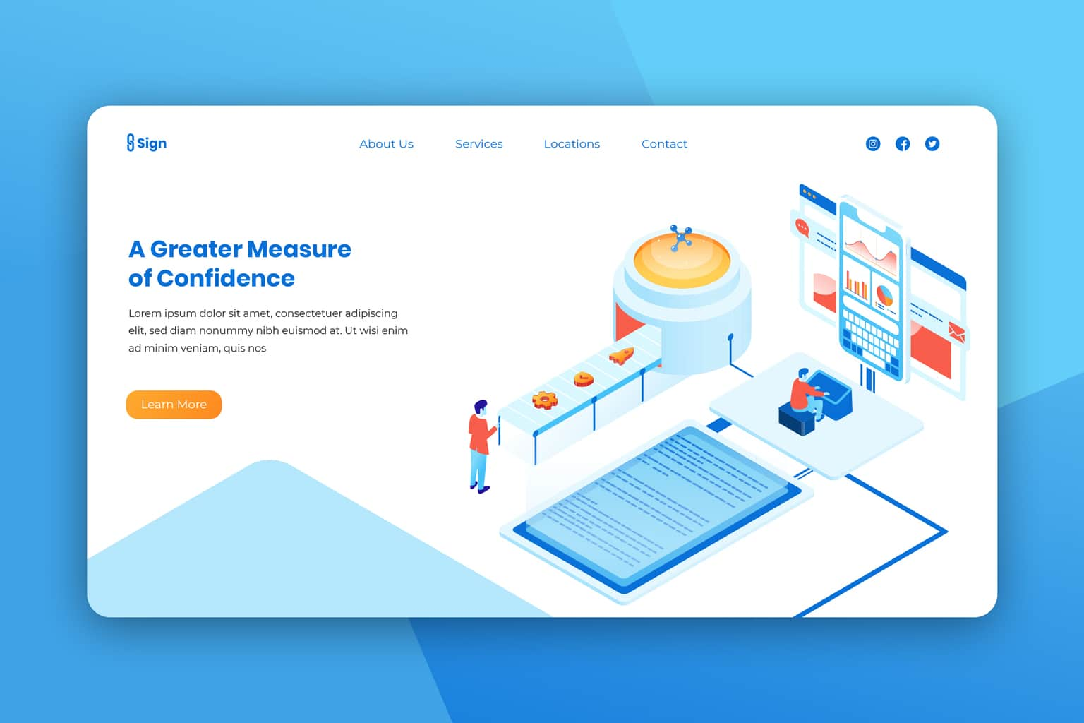 isometric landing pages business measurement