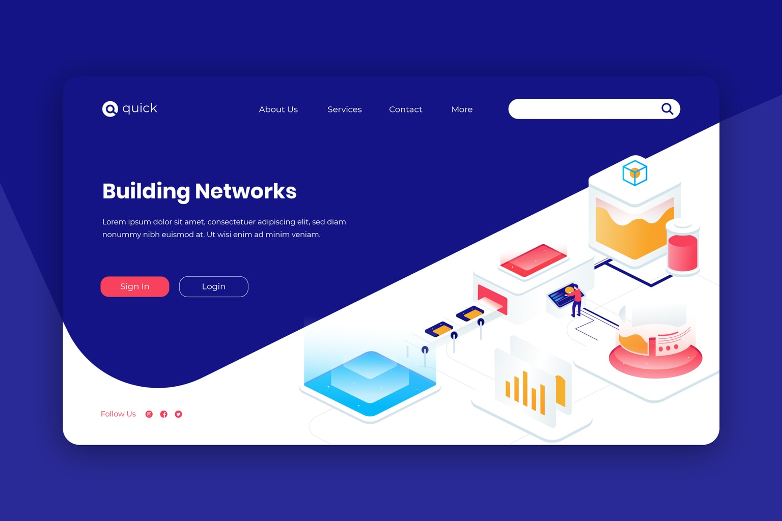 isometric landing pages network building