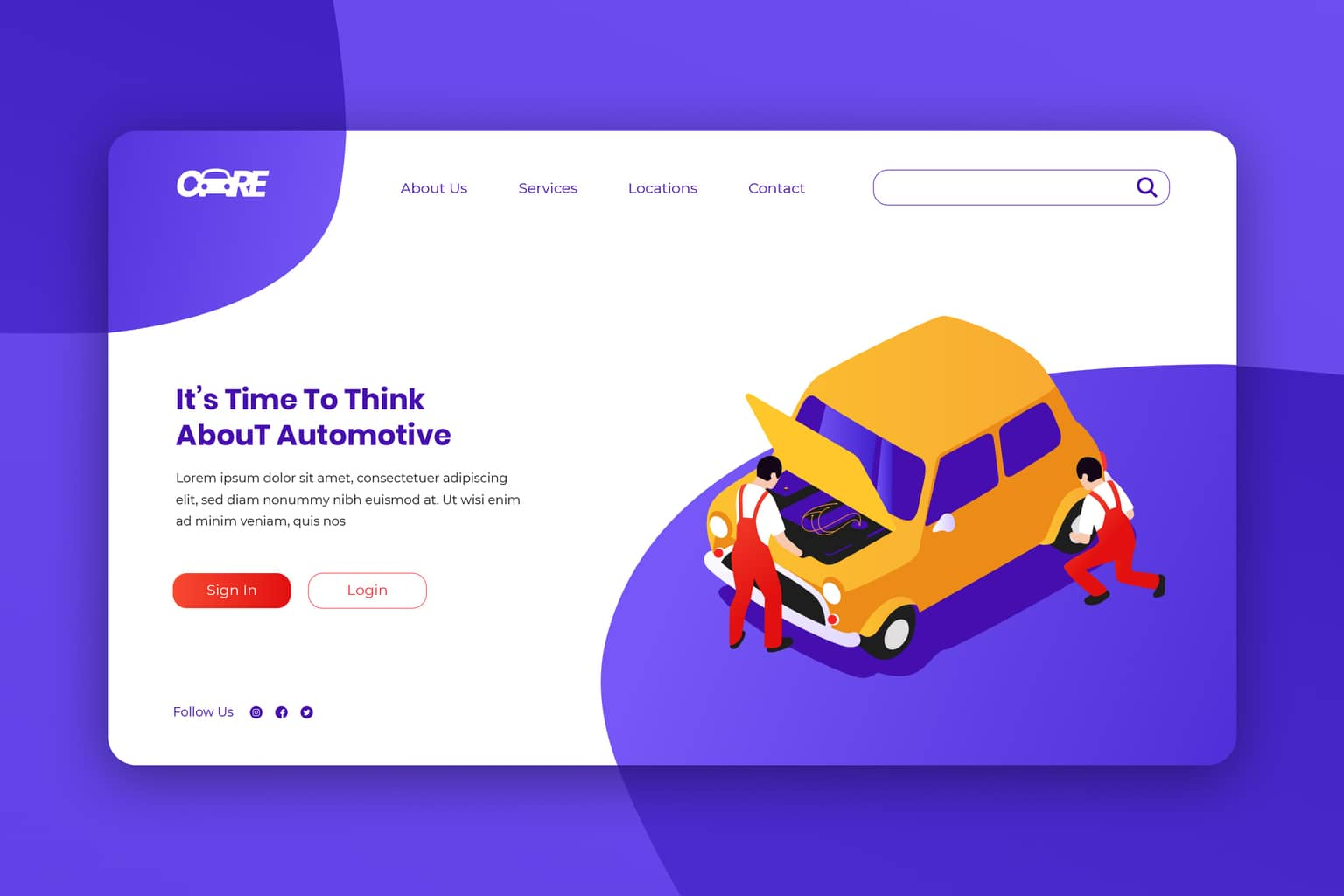isometric landing pages special automotive service
