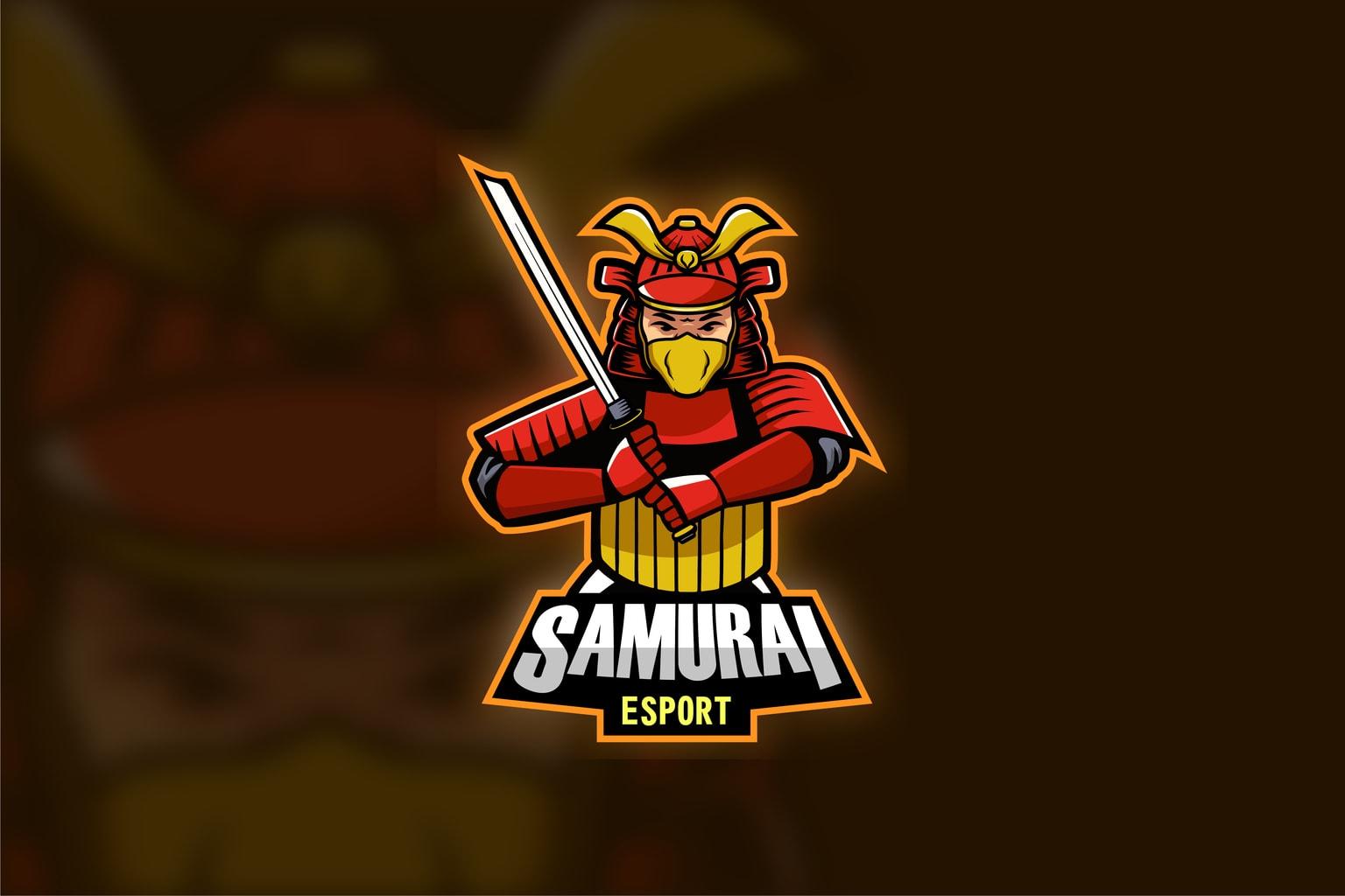 esport logo samurai fighter