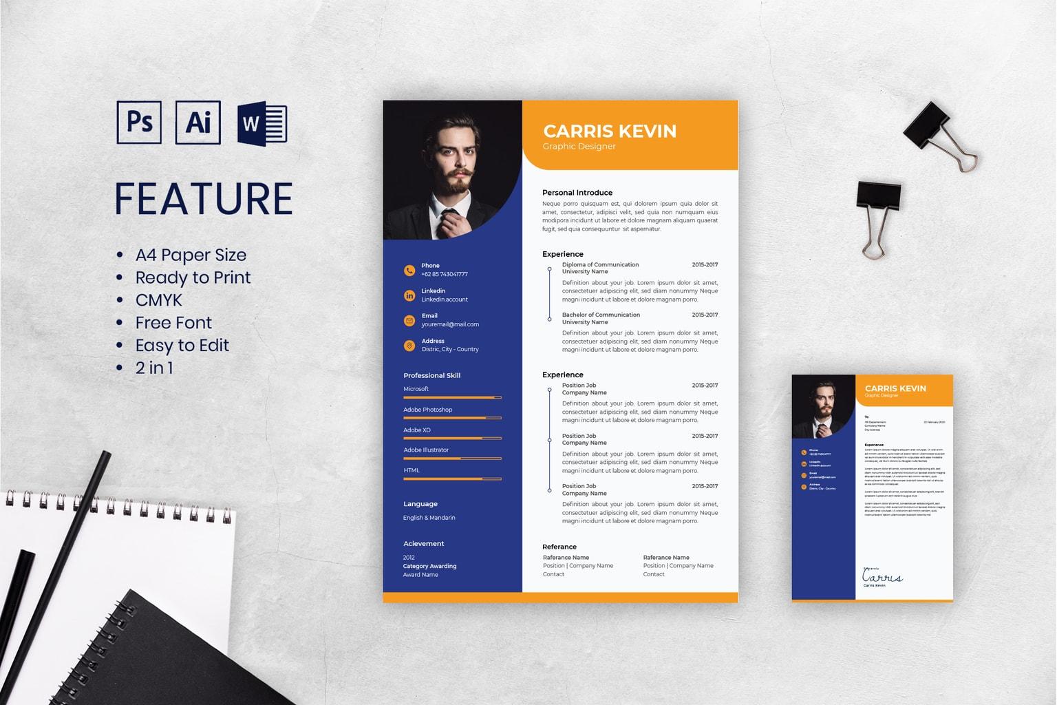 cv resume men graphic designer