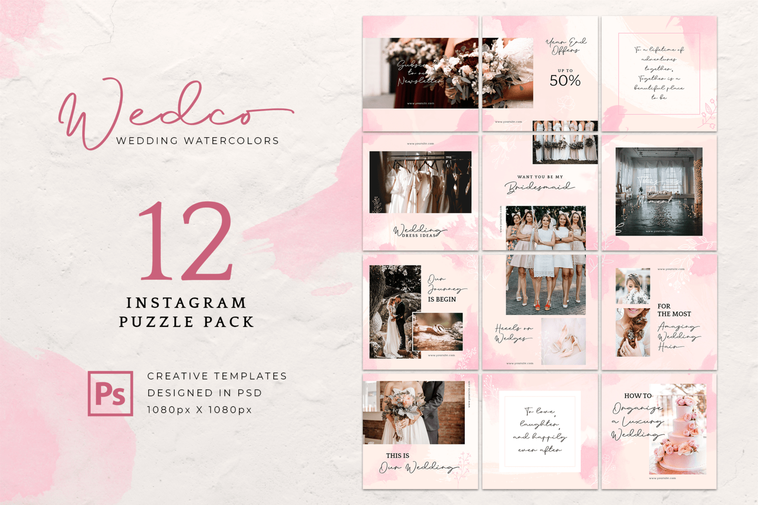 instagram puzzle watercolor wedding theme 5