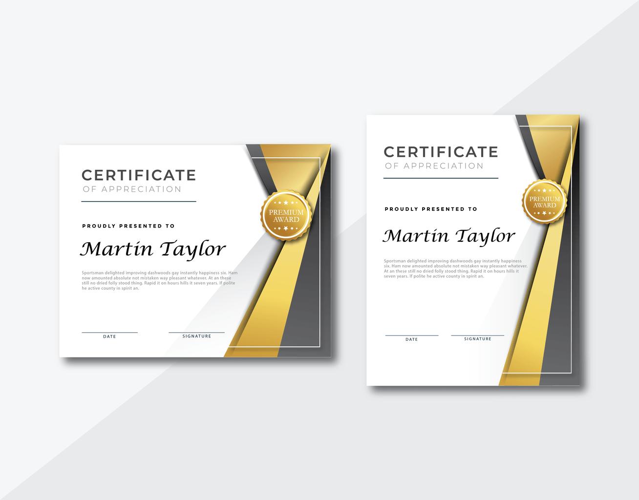 certificate regular awards