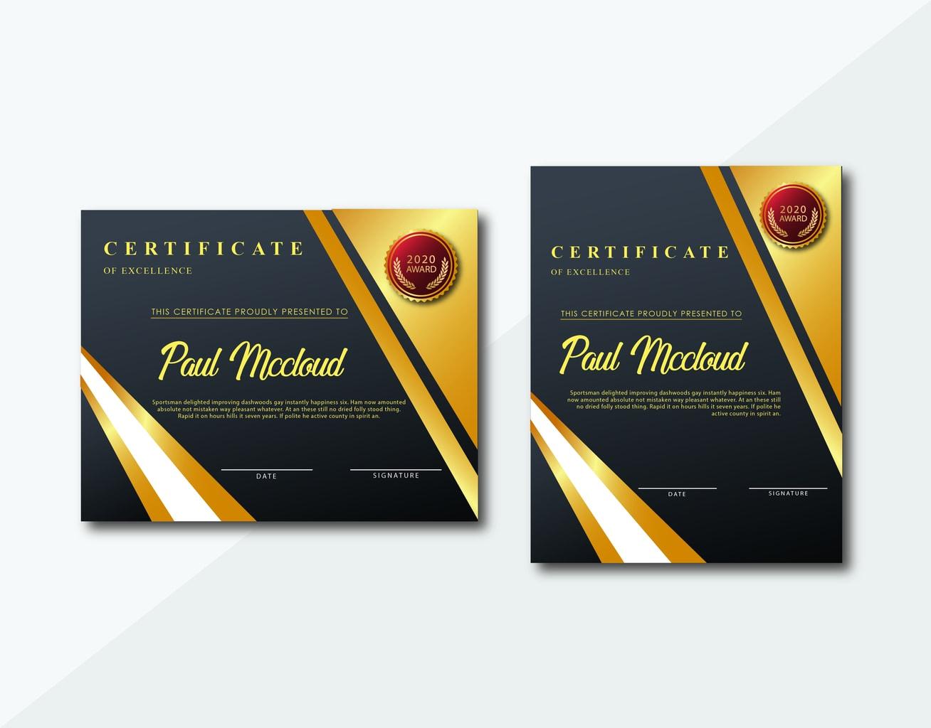 certificate golden achievement