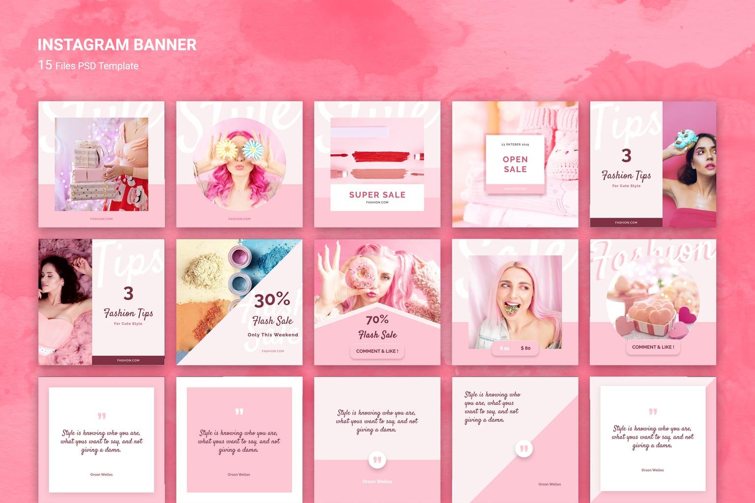 instagram banner pink fashion sale