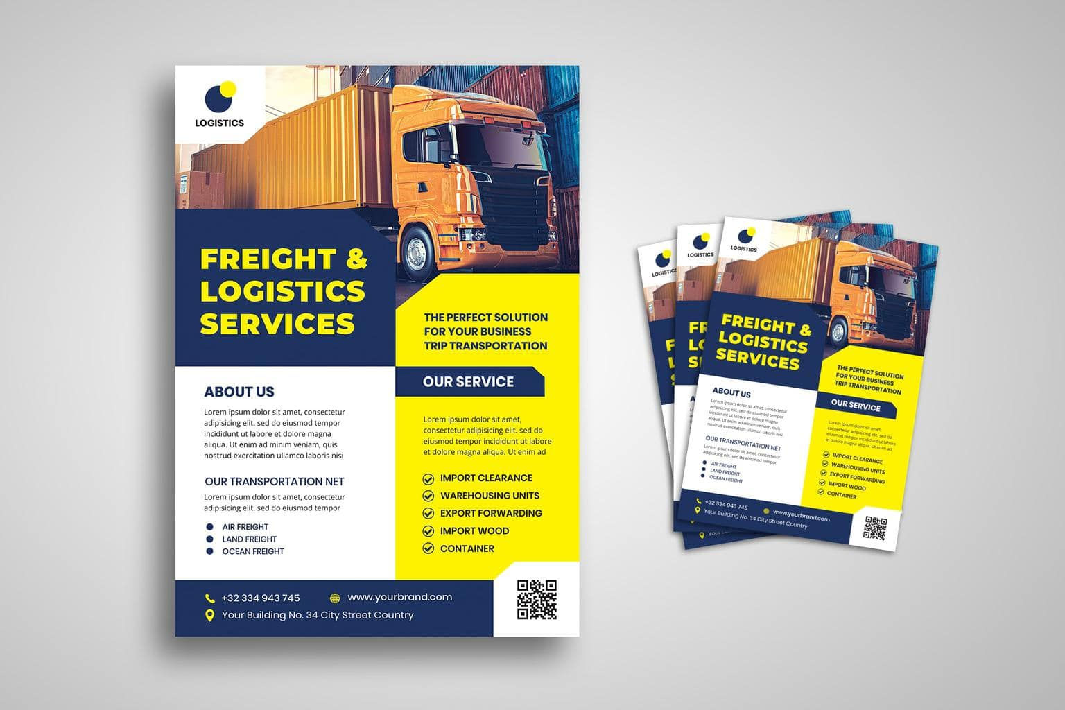 flyer template freight logistic services 3