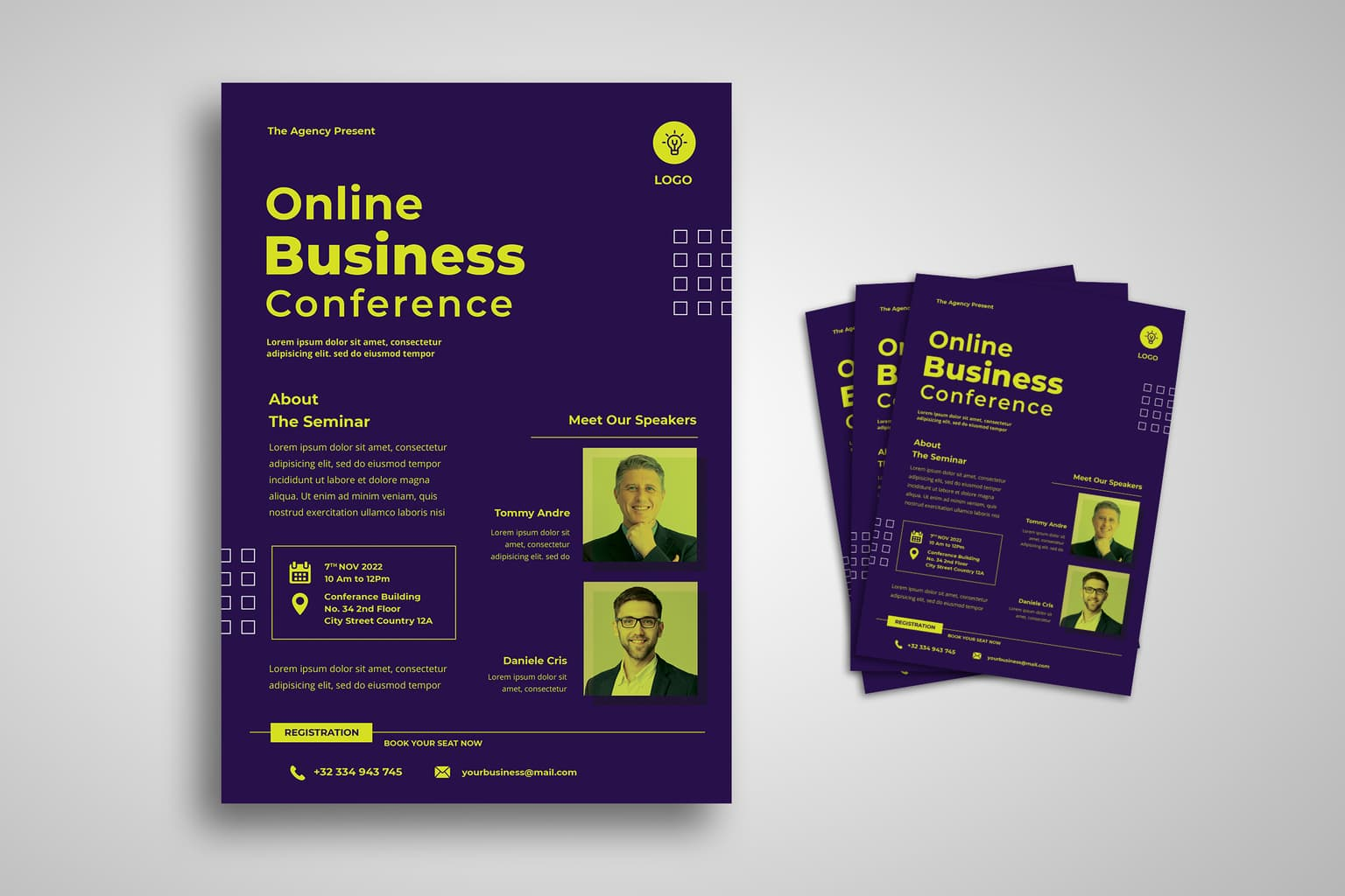 flyer template online business seminar 1