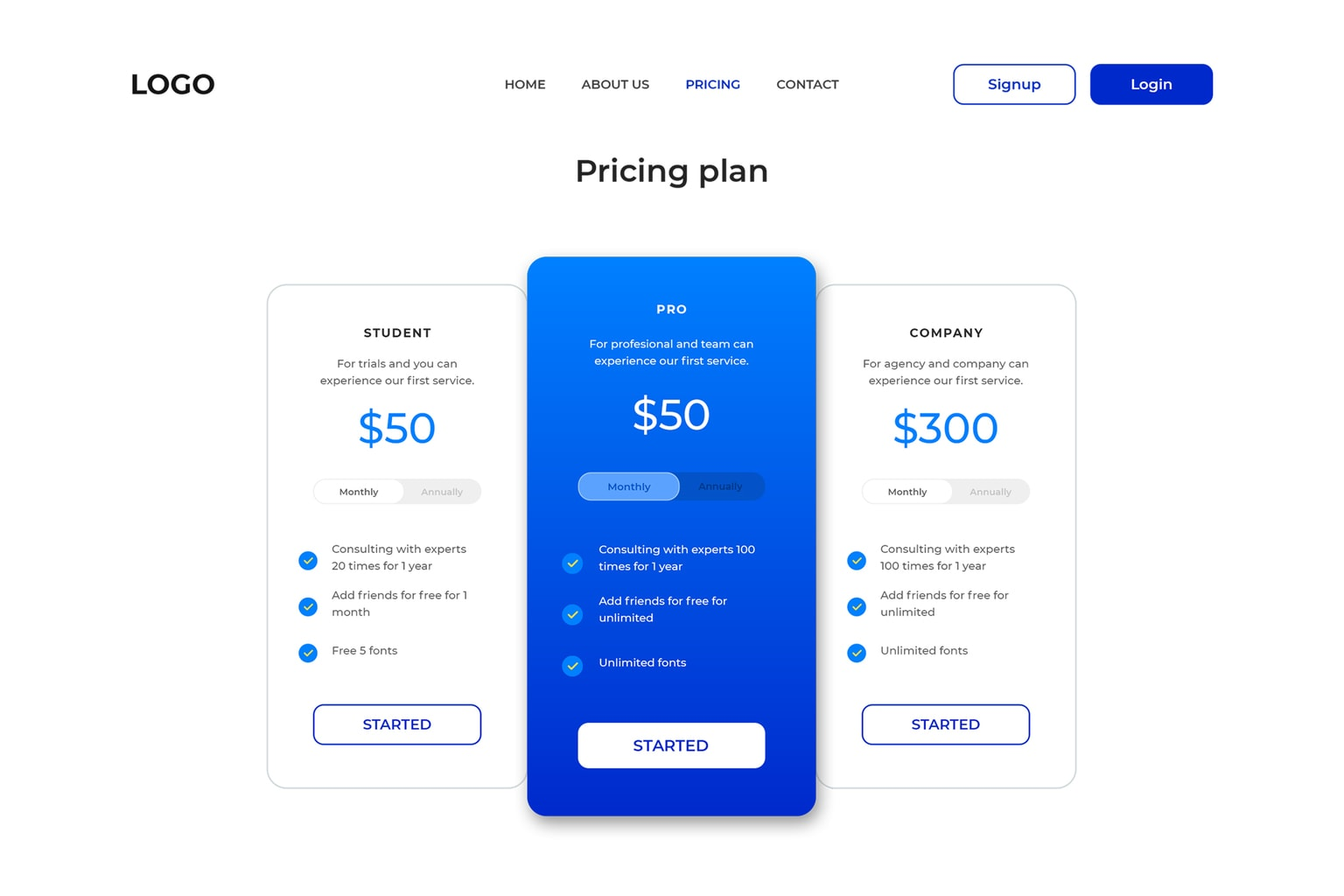 pricing table hosting server website