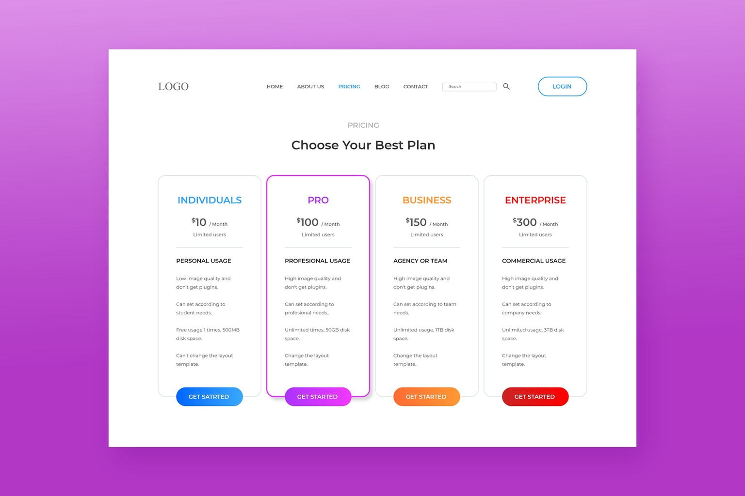pricing table premium website maker