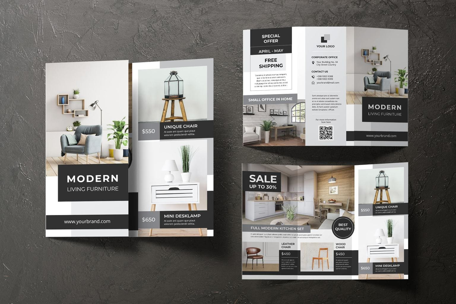 trifold brochure modern living furniture