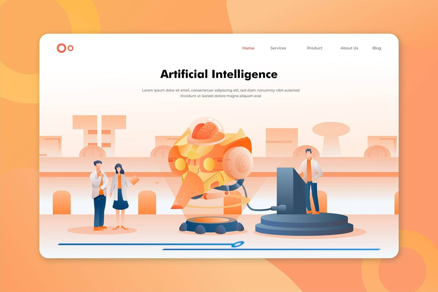 illustration landing pages artificial intelligence programs