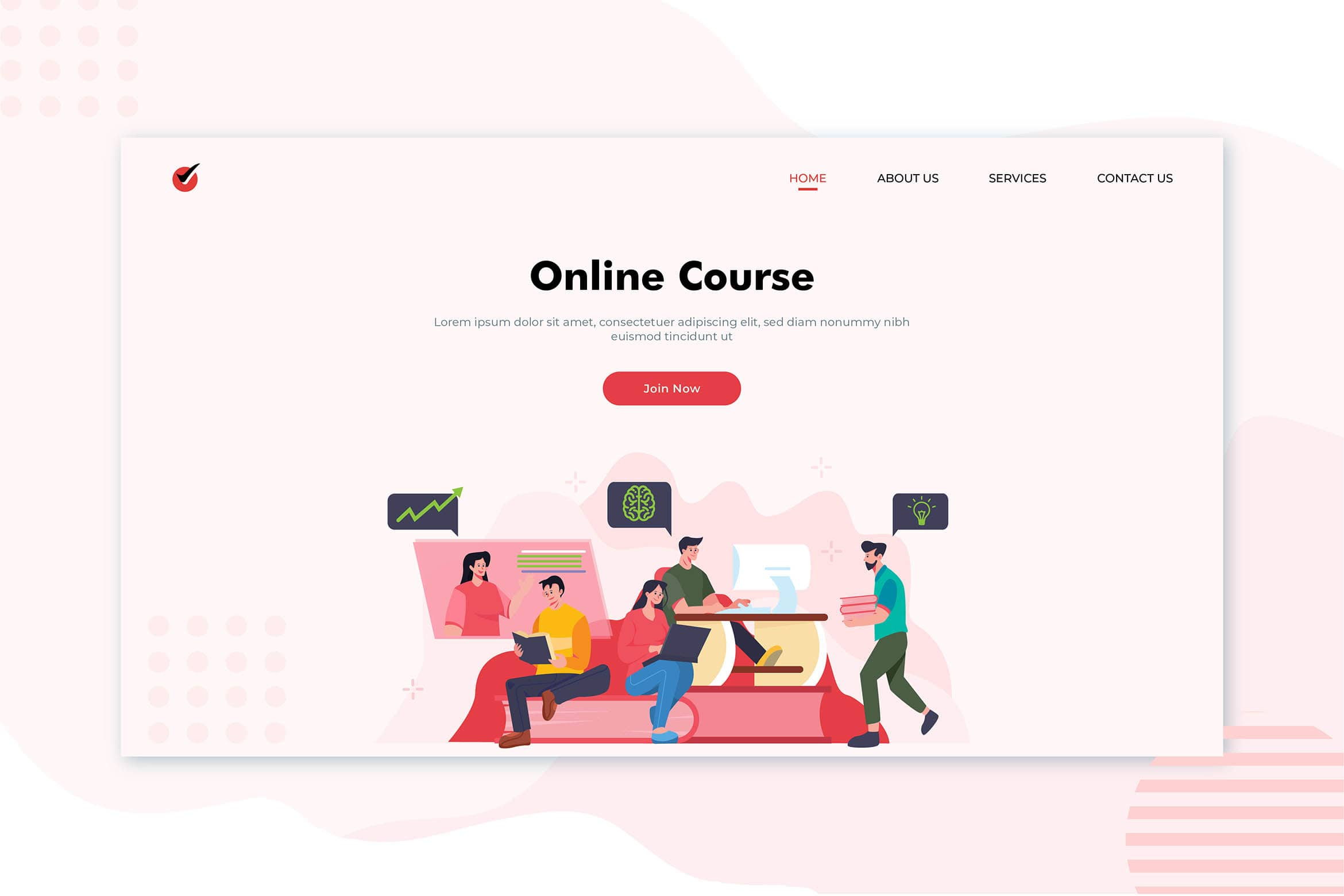 illustration landing pages best online course