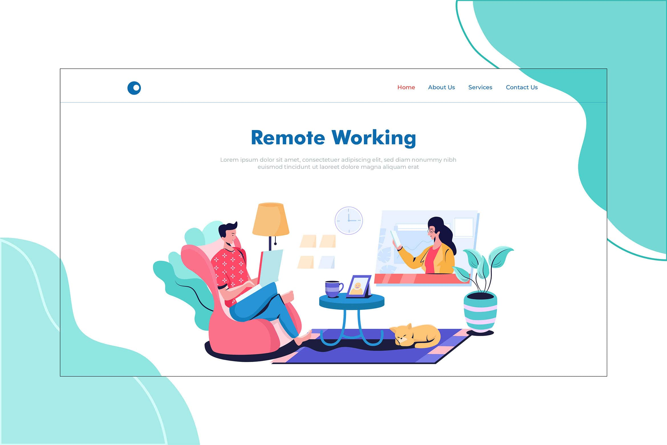 illustration landing pages remote working