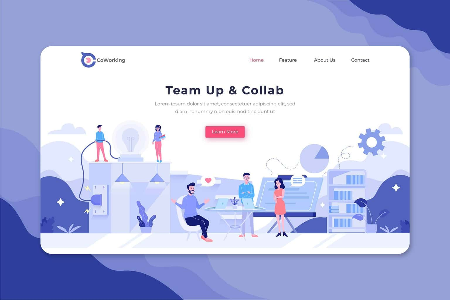 illustration landing pages team working collaboration 2